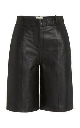 Kiltan Pleated Leather Bermuda Shorts By Loulou Studio | Moda Operandi