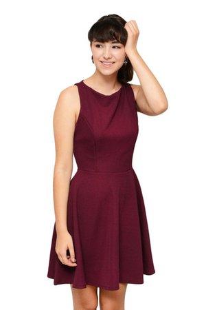 trendy, new, burgundy dress, burgundy dress, casual dress, skater dress, simplychic - Wheretoget