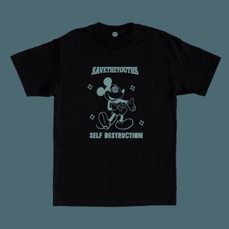 SELF DESTRUCTION BLACK TEE — SAVETHEYOUTHS