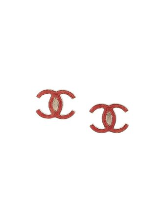 Chanel Pre-Owned 2010 CC logo earrings red