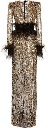 Zuhair Murad Golden Sequined Tulle Gown