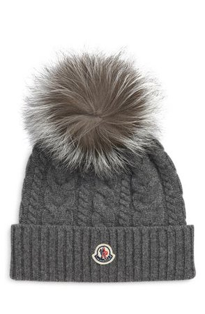 Moncler Cable Wool & Cashmere Beanie with Genuine Fox Fur Pom | Nordstrom
