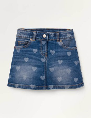 Five Pocket Denim Skirt - Mid Vintage Hearts