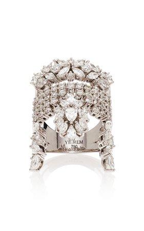 Yeprem Stack Illusion 18K White And Diamond Ring