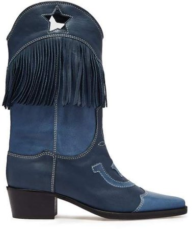 Tove Fringed Leather Western Boots - Womens - Blue