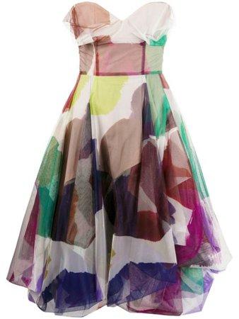 Pink & green Vivienne Westwood abstract print midi dress 1101016011646CT - Farfetch