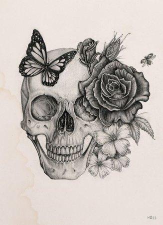 Rose&Skull by Boudos Simon, via Behance | Sкυℓℓѕ ♡ | Pinterest | Behance, Rose and Tattoo