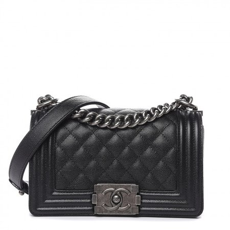 CHANEL Caviar Quilted Small Boy Flap Black 496832
