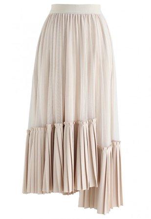 Mesh Asymmetric Hem Pleated Midi Skirt in Cream - Skirt - BOTTOMS - Retro, Indie and Unique Fashion
