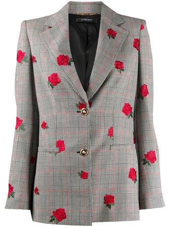Versace, Rose-Embroidered Check Blazer