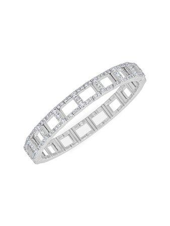 Zydo Stretch 18K White Gold & Diamond Open-Link Bracelet
