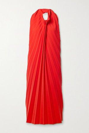 Pleated Stretch-cady Halterneck Midi Dress - Red