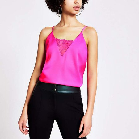 Bright pink lace V neck cami top