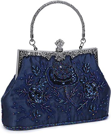 UBORSE Women's Embroidered Beaded Clutch Bag Sequin Evening Navy Blue Large Wedding Party Purse Vintage Bags: Handbags: Amazon.com
