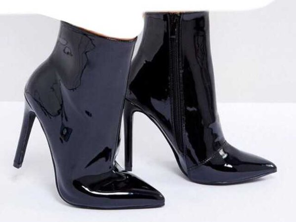 asos patent leather boots black shiny boot shoes shoe heel heels heeled booties bootie ankle