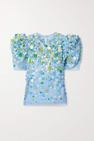 Embroidered Embellished Twill-trimmed Silk-organza Top - Light blue