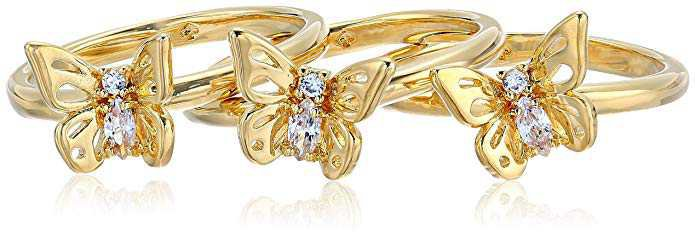 Amazon.com: Kate Spade New York Stackable Set Social Butterfly Stackable Set Clear/Gold Ring, Size: Clothing