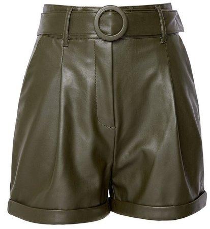 **Lola Skye Green Belted Shorts