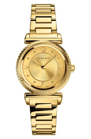 Versace V Motif Bracelet Watch, 35mm | Nordstrom