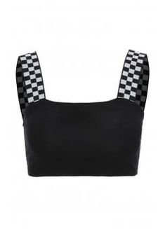 Black. Cropped top. Checkerboard printed straps. Cotton.