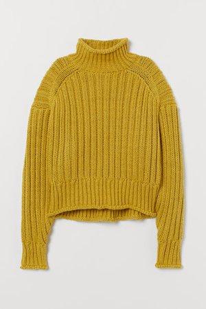 Rib-knit Turtleneck Sweater - Light olive green - Ladies | H&M CA