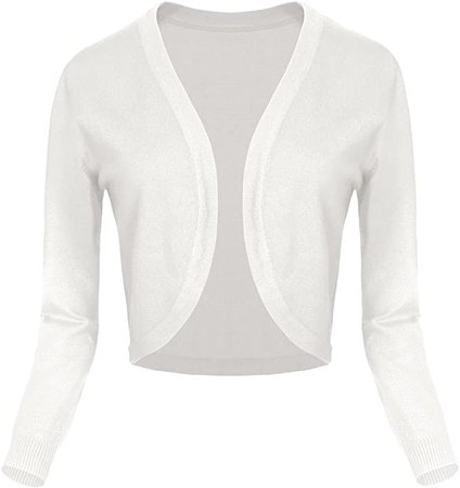 Urban CoCo Women's Cropped Cardigan V-Neck Button Down Knitted Sweater 3/4 Sleeve (L, 2 White) at Amazon Women's Clothing store
