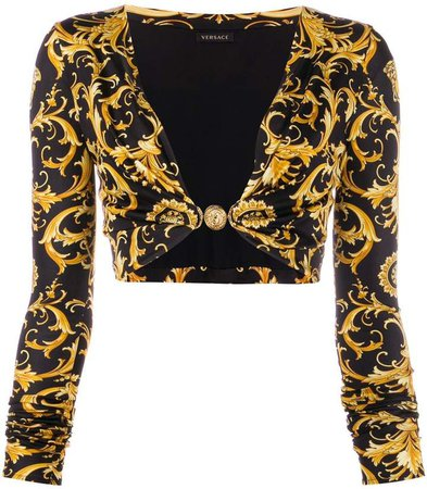 baroque print cropped top