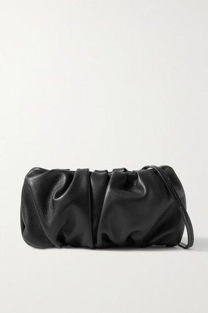 Bean Gathered Leather Shoulder Bag - Black