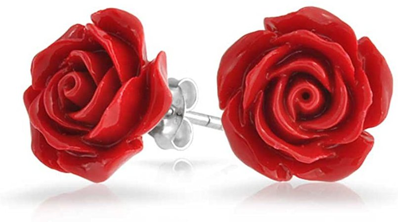 Amazon.com: Romantic Delicate Floral Blooming 3D Craved Red Rose Flower Stud Earrings For Women For Teen For Mother Silver Plated: Jewelry