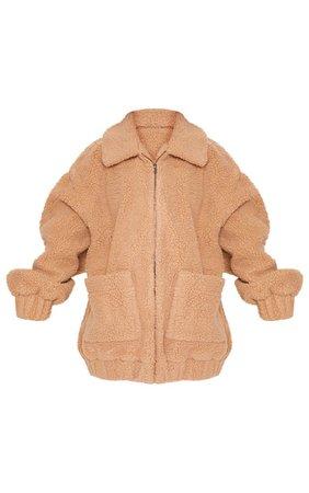 Camel Oversized Teddy Coat
