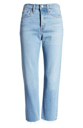 Levi's® Wedgie High Waist Raw Hem Straight Leg Jeans (Tango Hustle) | Nordstrom