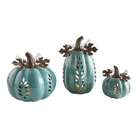 Teal Ceramic Pumpkin Tealight Candle Holders | Pier 1