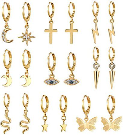 Amazon.com: AIDSOTOU 9 Pairs Small Gold Butterfly Star Hoop Earrings Set for Women Girls Mini Huggie Hoop Earrings with Dangle Charms: Clothing