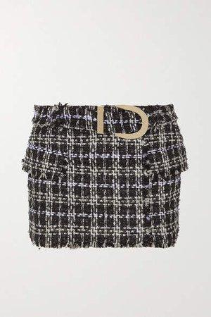 Belted Boucle-tweed Mini Skirt - Black