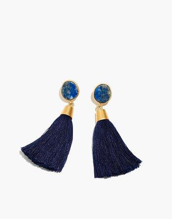 Stone Tassel Earrings Blue