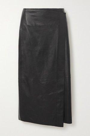 Wrap-effect Leather Midi Skirt - Black