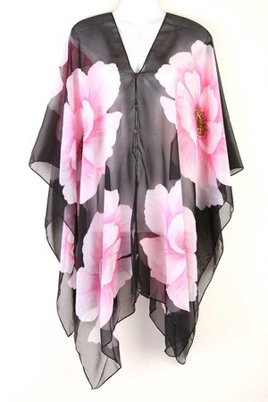 Caftan Kaftan Tunic Dress Scarf Blouses Wing Beach Cover Swimwear Flower ts04d