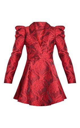 Red Jacquard Puff Sleeve Lapel Detail Skater Dress | PrettyLittleThing USA