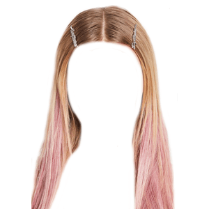 Blonde Hair With Pink Tips PNG Pins/Clips