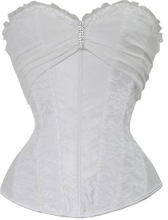 WOMEN'S OVERBUST CORSET TOP WITH ROSE SINGLE SHOULDER STRAP - WHITE -