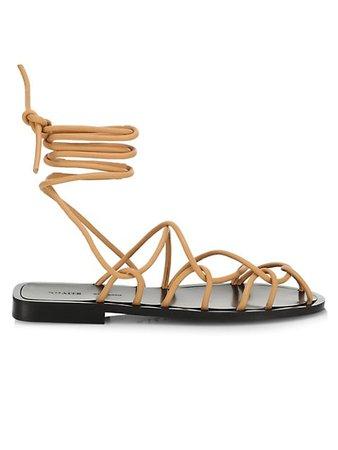 Khaite Lyon Suede Lace-Up Sandals | SaksFifthAvenue