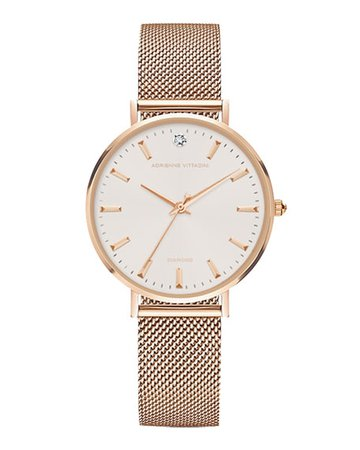 Adrienne Vittadini 34mm Crystal Watch w/ Mesh Bracelet, Rose Gold