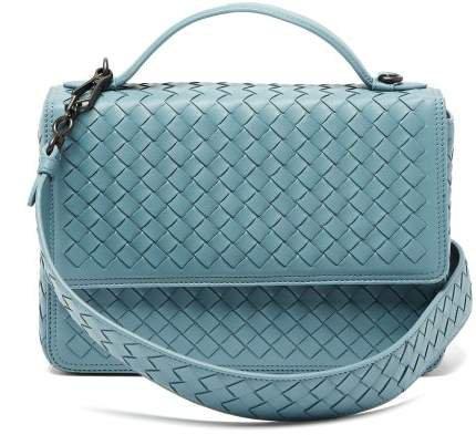 Alumna Intrecciato Leather Shoulder Bag - Womens - Light Blue