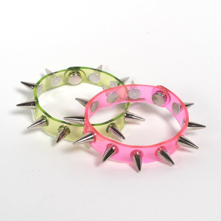 Apatico - Spiked Bangle Bracelet - UV Pink - Lime Green - Clear PVC