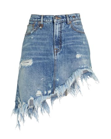 R13 Distressed Asymmetrical Denim Skirt | INTERMIX®