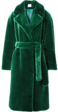 Luxe Oversized Faux Fur Coat - Green