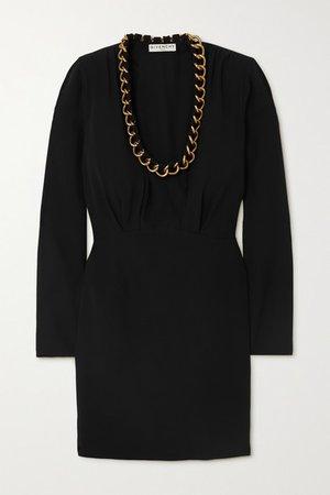 Chain-embellished Crepe Mini Dress - Black