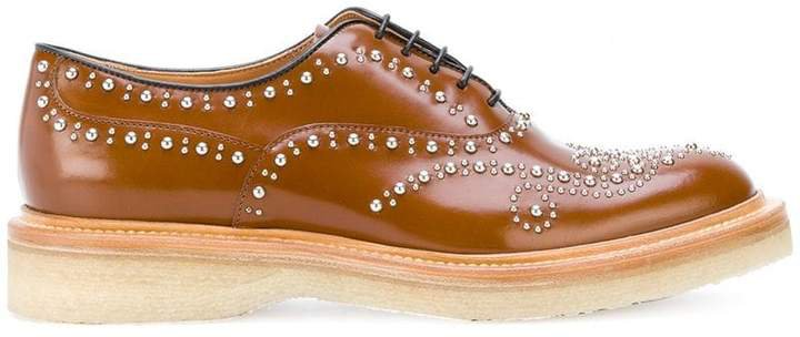 chunky sole studded oxfords
