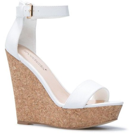white wedges shoedazzle