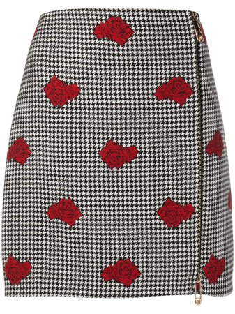Versace Rose-Embroidered Houndstooth Wool Skirt Aw20 | Farfetch.Com